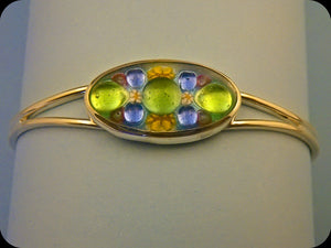 Jeweled Enamel Cuff Bracelet (green)
