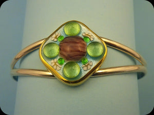 Jeweled Enamel Cuff Bracelet (lavender/green)