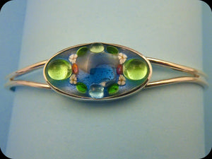 Jeweled Enamel Cuff Bracelet (blue/green)