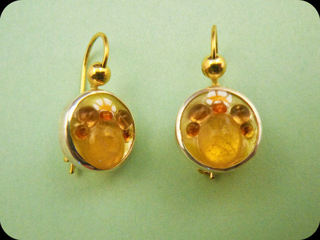 Jeweled Enamel Earrings (yellow)