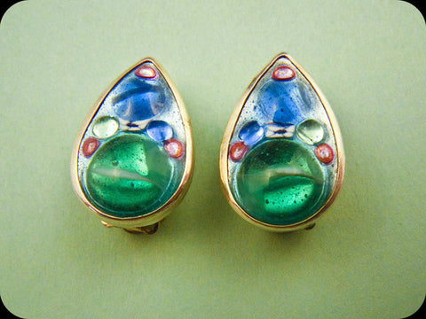 Teardrop Earrings (green/blue)