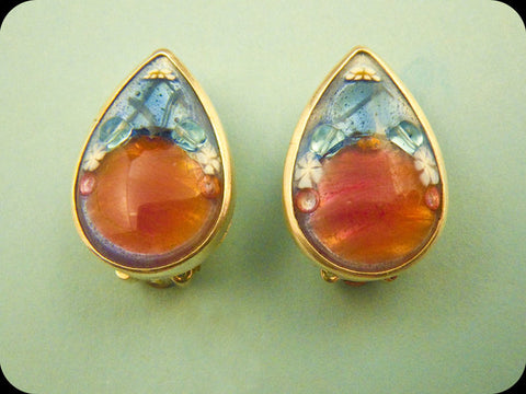 Teardrop Earrings (rose/blue)