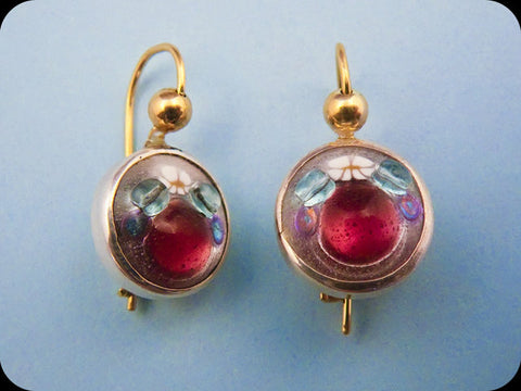Jeweled Enamel Earrings (lavender)