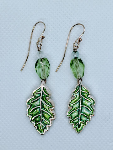 Enameled Oak Leaves in Silver