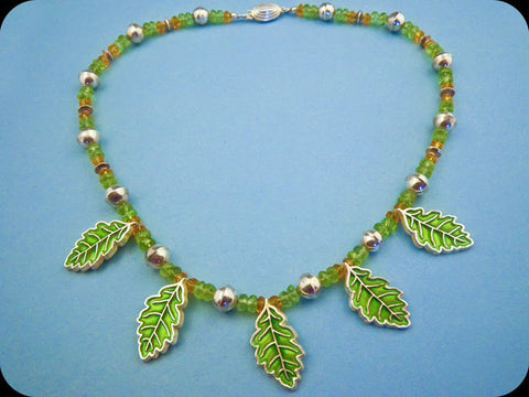 Oak Leaf Peridot Necklace