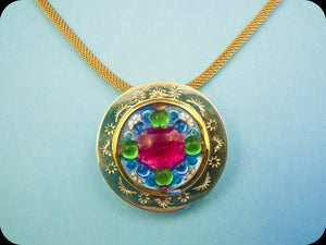 Jeweled Enamel Pendant (large)