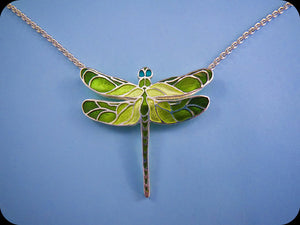 Medium Dragonfly Pendant (green)