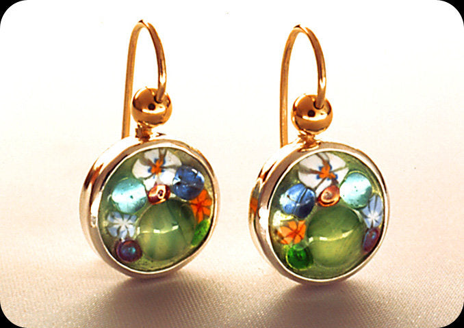 Jeweled Enamel Circle Earrings