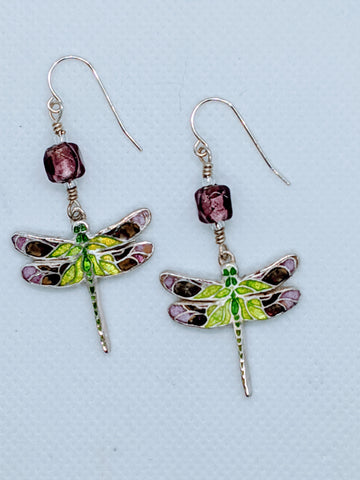 Enameled Dragonfly Earrings