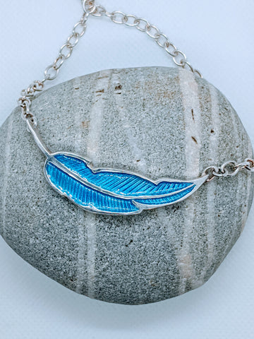 Enameled Feather Pendant