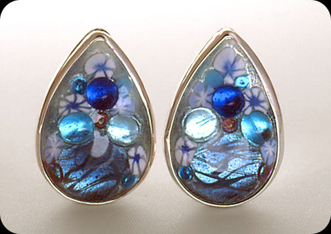 Jeweled Enameled Teardrop Clip Earrings