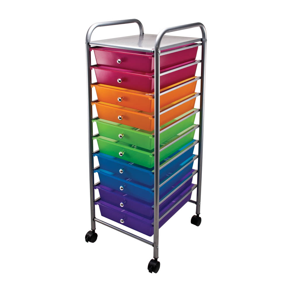 Advantus 10 Drawer Organizer, Multi colored Drawers