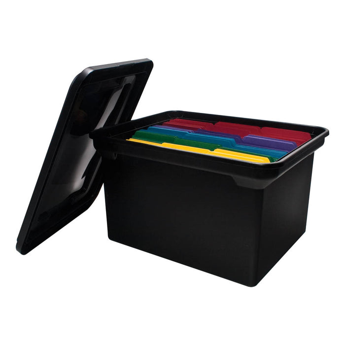 Advantus File Tote with Lid, Black