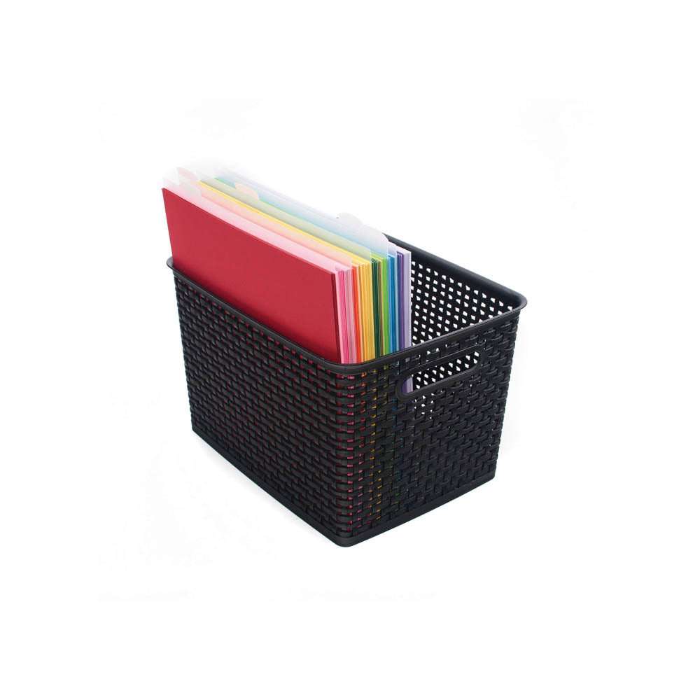 Advantus Plastic Weave Bin, Large, Black