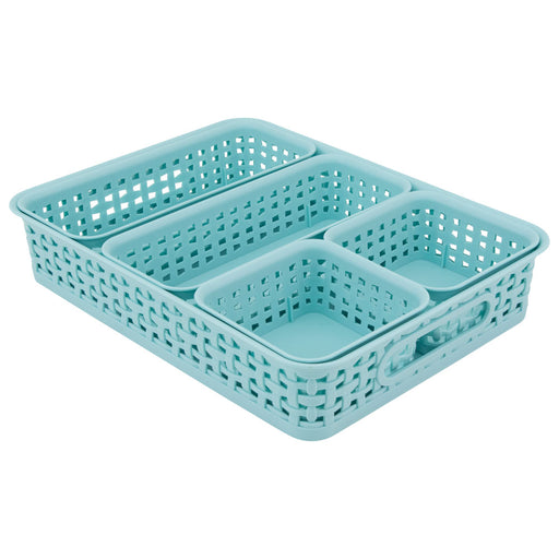 Advantus Plastic Weave Bins, Blue, 5/Pack