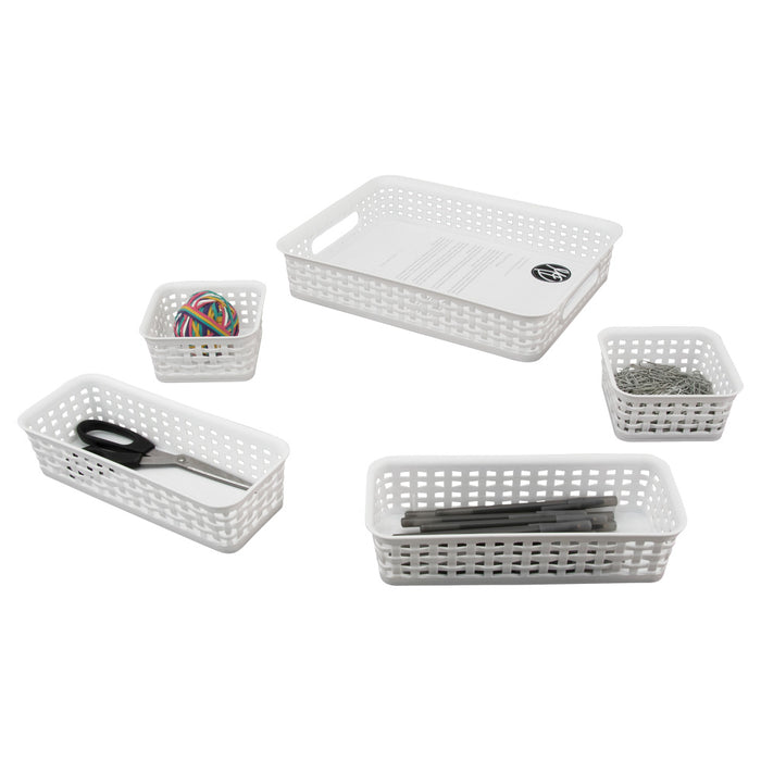Advantus Plastic Weave Bins, White, 5/Pack