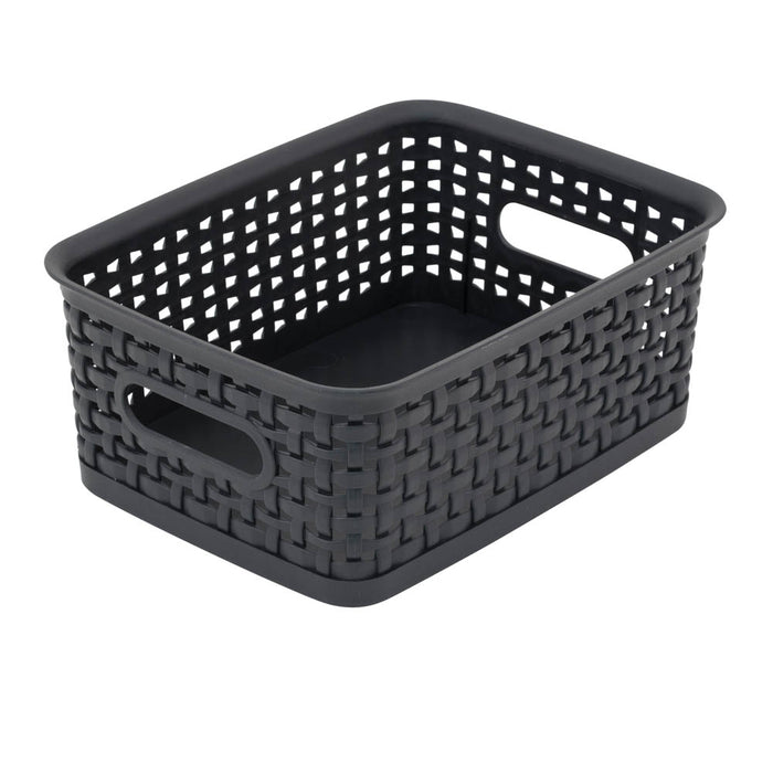 Advantus Plastic Weave Bin, Small, Black, 3/PK