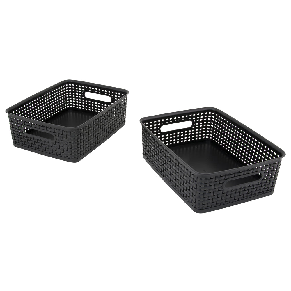 Advantus Plastic Weave Bin, Medium, Black, 2/PK