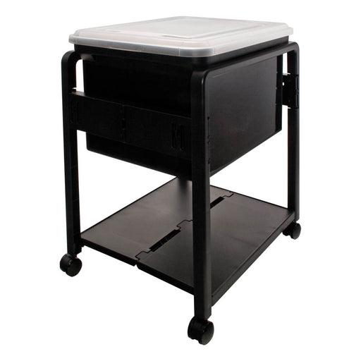 Advantus Folding Letter/Legal Mobile File Cart, Black/Clear Lid