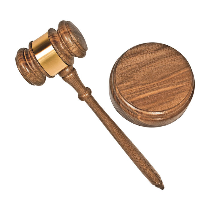 Advantus Gavel Set with Sound Block and Brass Engraving Band, Walnut