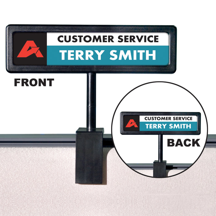 People Pointer Cubicle Sign, Black Frame
