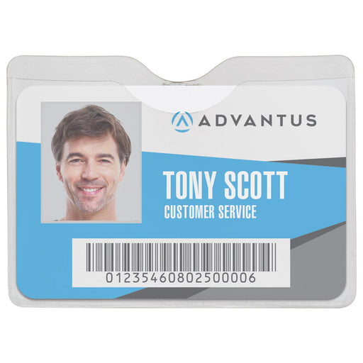 Advantus Security Badge Holder, Horizontal with Clip, 3½in. x 2½in, 50/BX