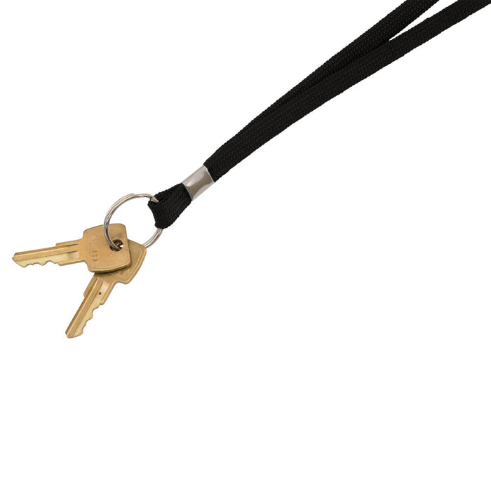 Advantus Deluxe Lanyard with Split Key Ring, Black, 24/BX