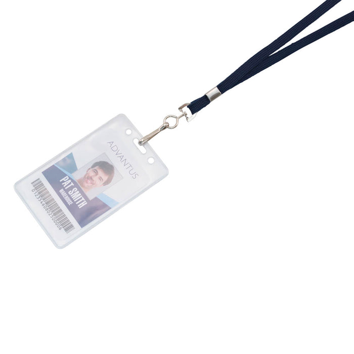 Advantus Deluxe Lanyard with J Hook, Blue, 24/BX