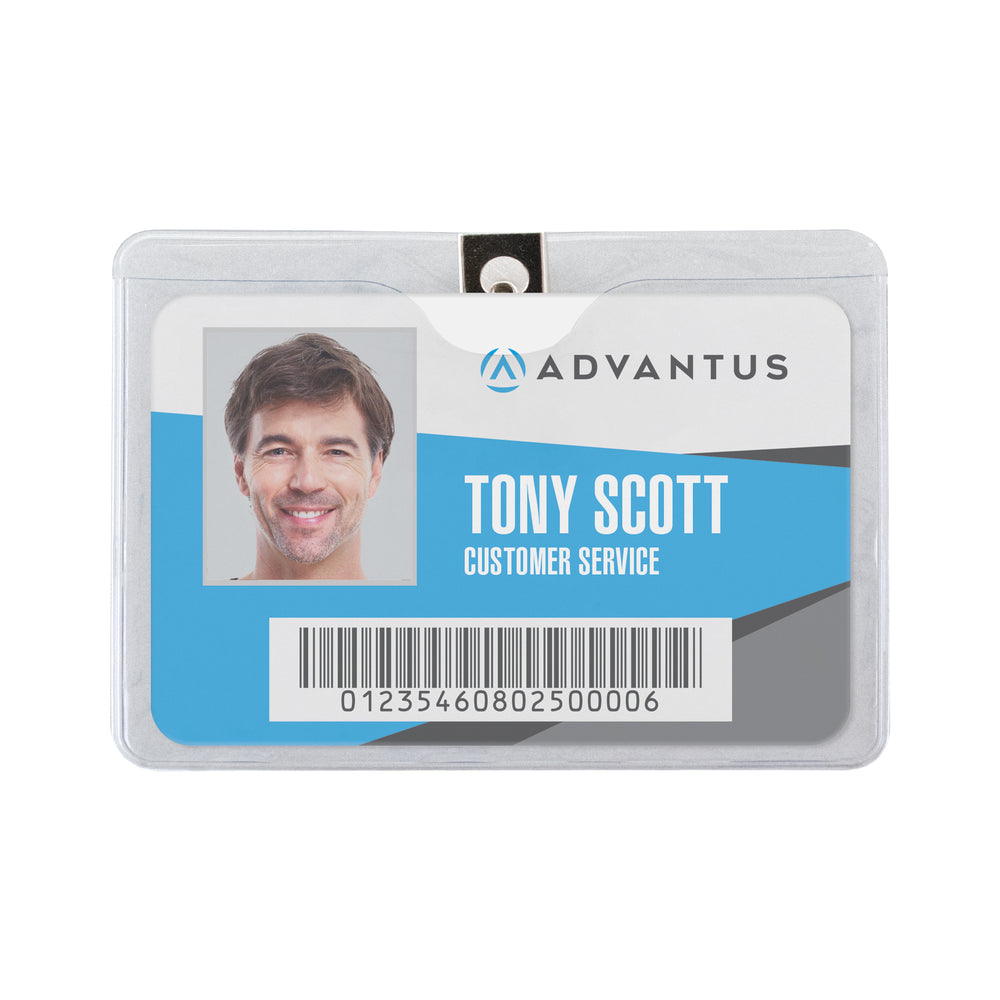 "Advantus ID Badge Holder with Clip, Horizontal, 3.875"" x 3"", 50/PK"
