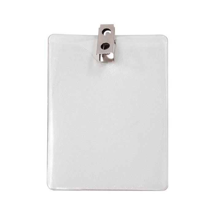 Advantus ID Badge Holder with Clip, Vertical, 3in. x 4in, 50/PK