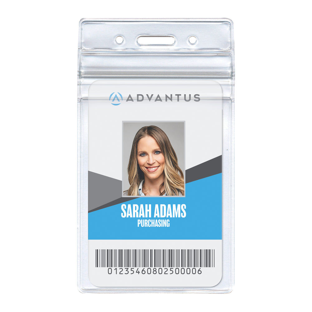"Advantus Resealable Badge Holder, Vertical, 2.38"" W x 3.75"" H , 50/PK"