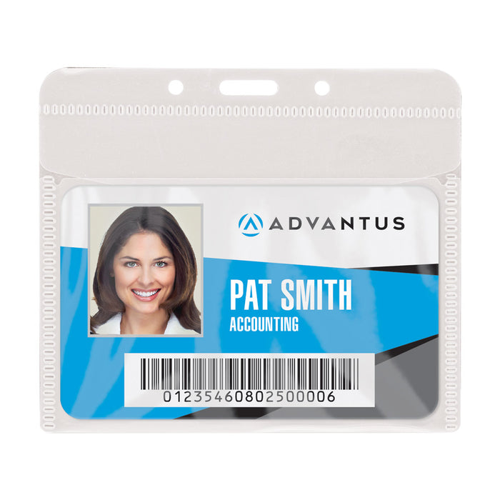 Advantus PVC Free Badge Holder, Horizontal, 4in. x 3in, 50/PK