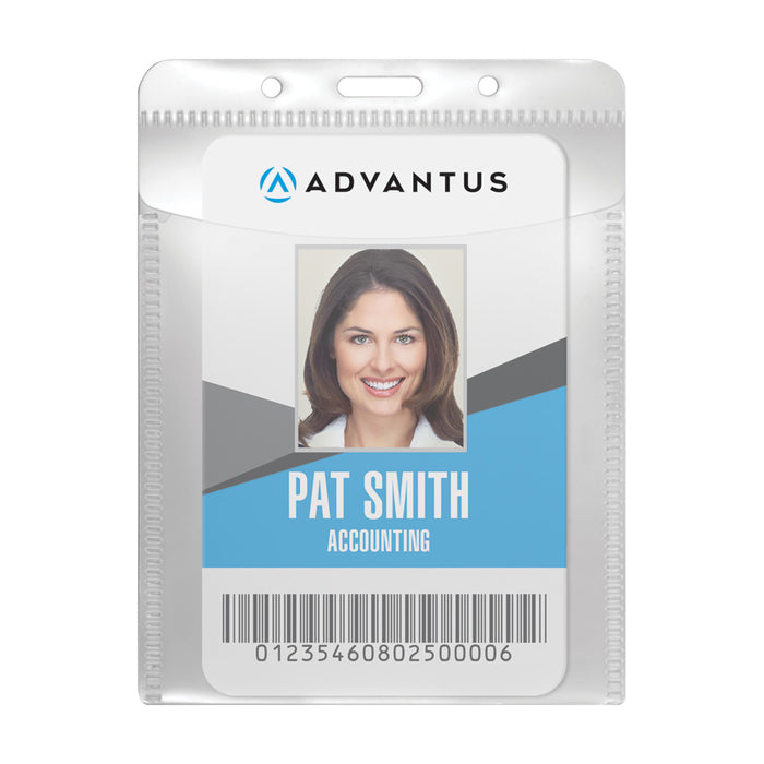 Advantus PVC Free Badge Holder, Vertical, 3in. x 4in, 50/PK