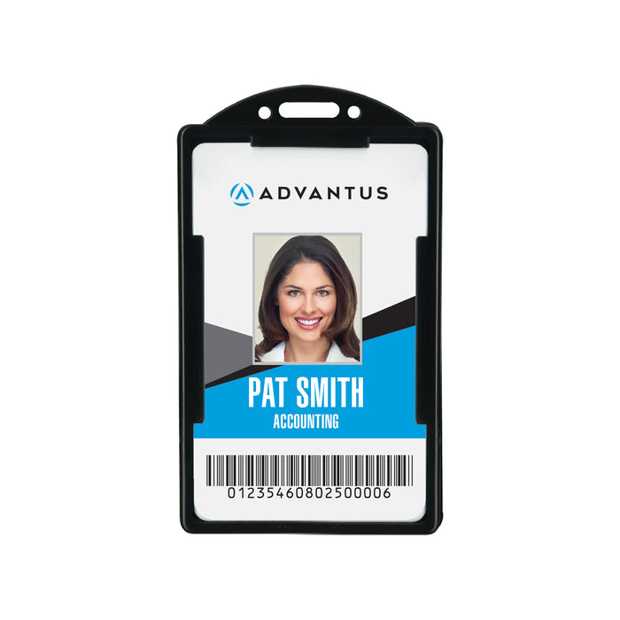 Advantus ID Card Holder, Vertical ,Black, 2.13 in. x 3.38 in, 25/PK
