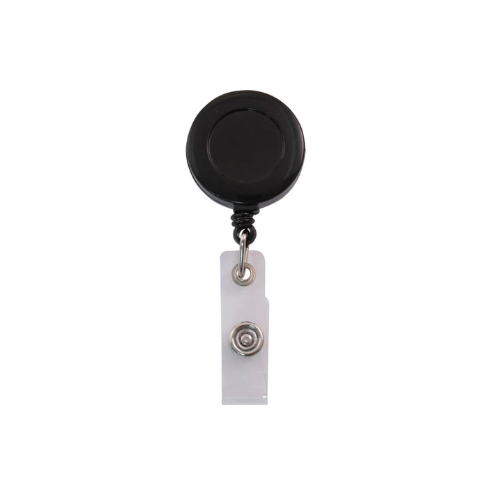 Advantus Clip on Retractable ID Reel with Badge Holder Strap, Black, 25/BX
