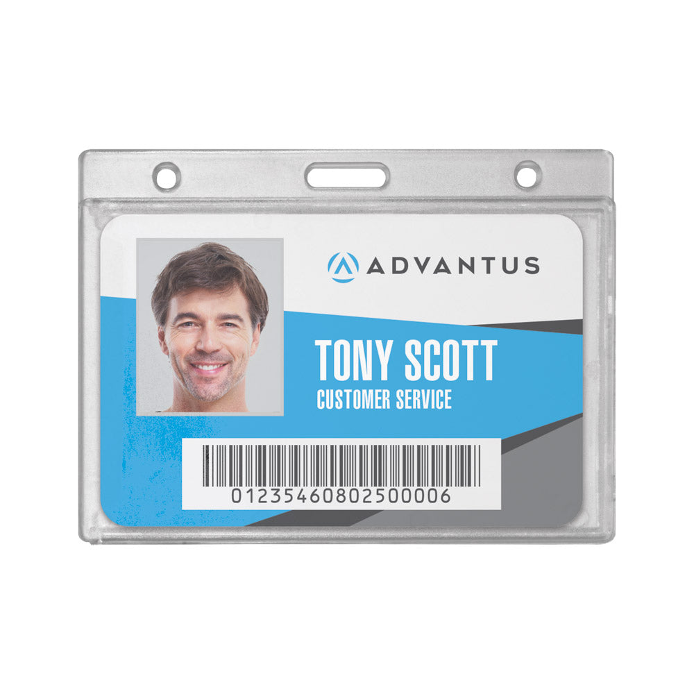 Advantus Frosted Rigid Badge Holder, Horizontal, 3⅜in. x 2⅛in, 25/BX