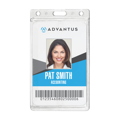 Advantus Frosted Rigid Badge Holders, Vertical, 2_in. x 3_in, 25/BX