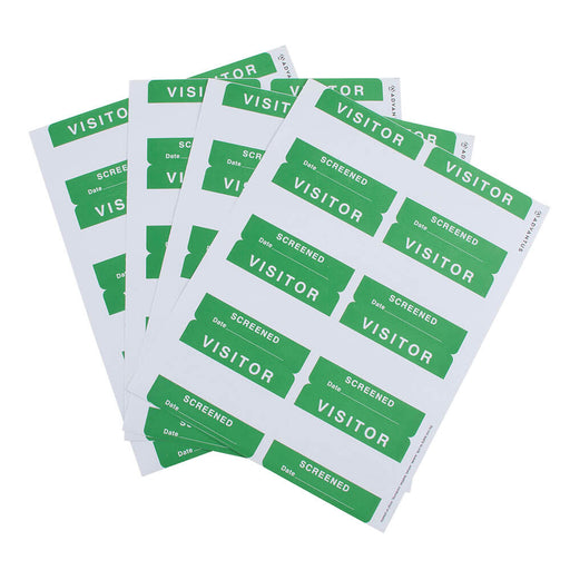 Adhesive Badges, Visitor Screened, Green, 200/BX