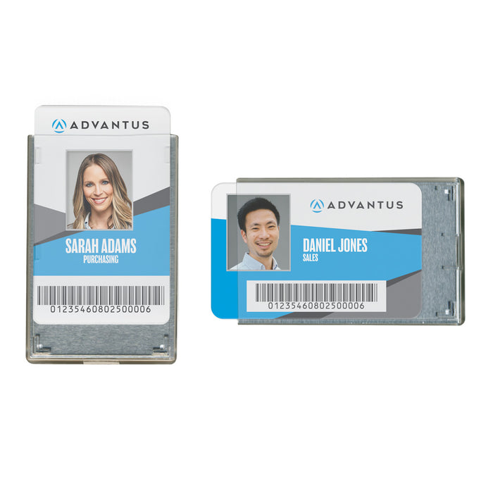Advantus Rigid Two Badge RFID Blocking Smart Card Holder, Clear, 20/PK
