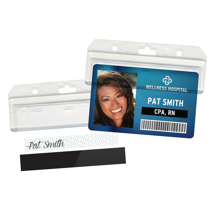 Advantus Advantus Half Badge Holder, Horizontal, 25/PK