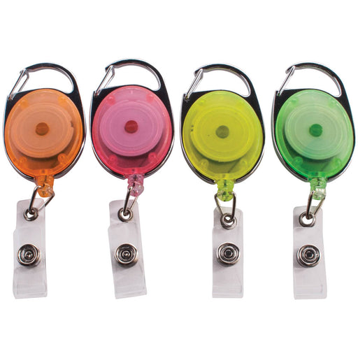 Advantus Carabiner ID Reels, Assorted Neon Colors, 20/PK