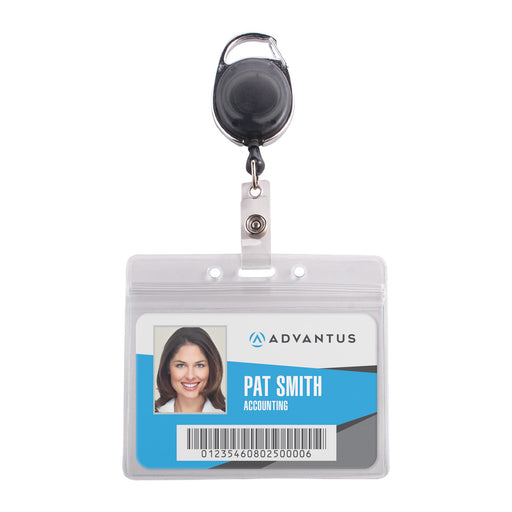 Advantus Resealable Badge Holder & Carabiner Badge Reel, Horizontal, Smoke, 3¾in. x 2⅝in, 10/PK