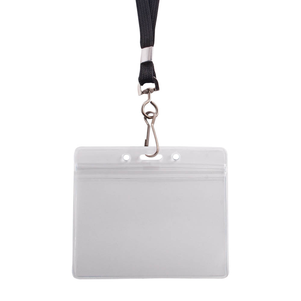 Advantus Resealable Badge Holder & Deluxe 36in. Lanyard with J Hook, Horizontal, 3¾in. x 2⅝in, 20/PK