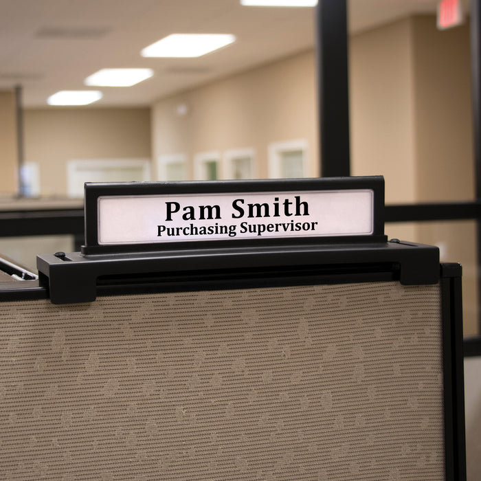 Advantus Adjustable Cubicle Nameplate, Black, 9 in. x 2 in.