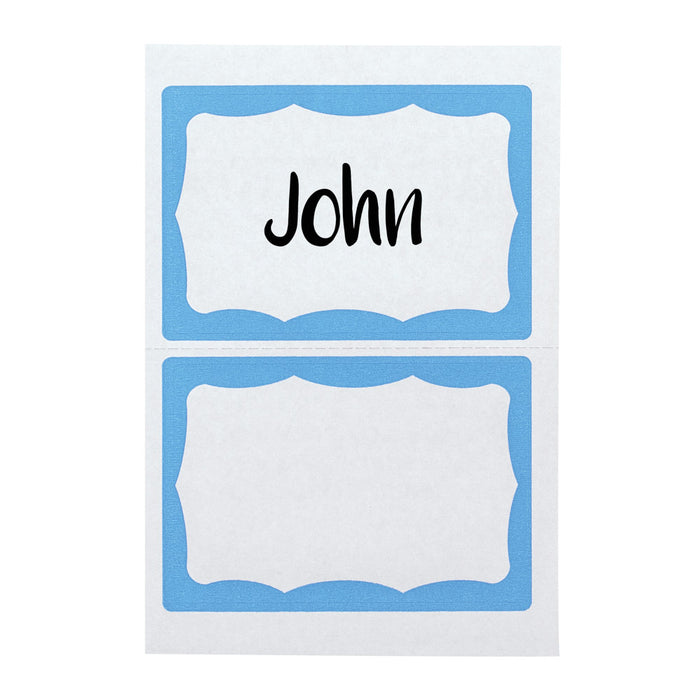 Advantus Light Blue Border Writable Badge Stickers, 3½ x 2¼in, 100/BX