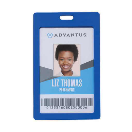 Advantus Rigid ID Badge Holder, Vertical, Blue, 2in. x 3_in, 6/PK