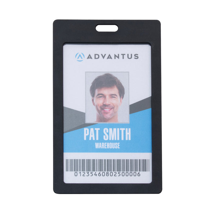 Advantus Rigid ID Badge Holder, Vertical, Black, 2in. x 3¼in, 6/PK