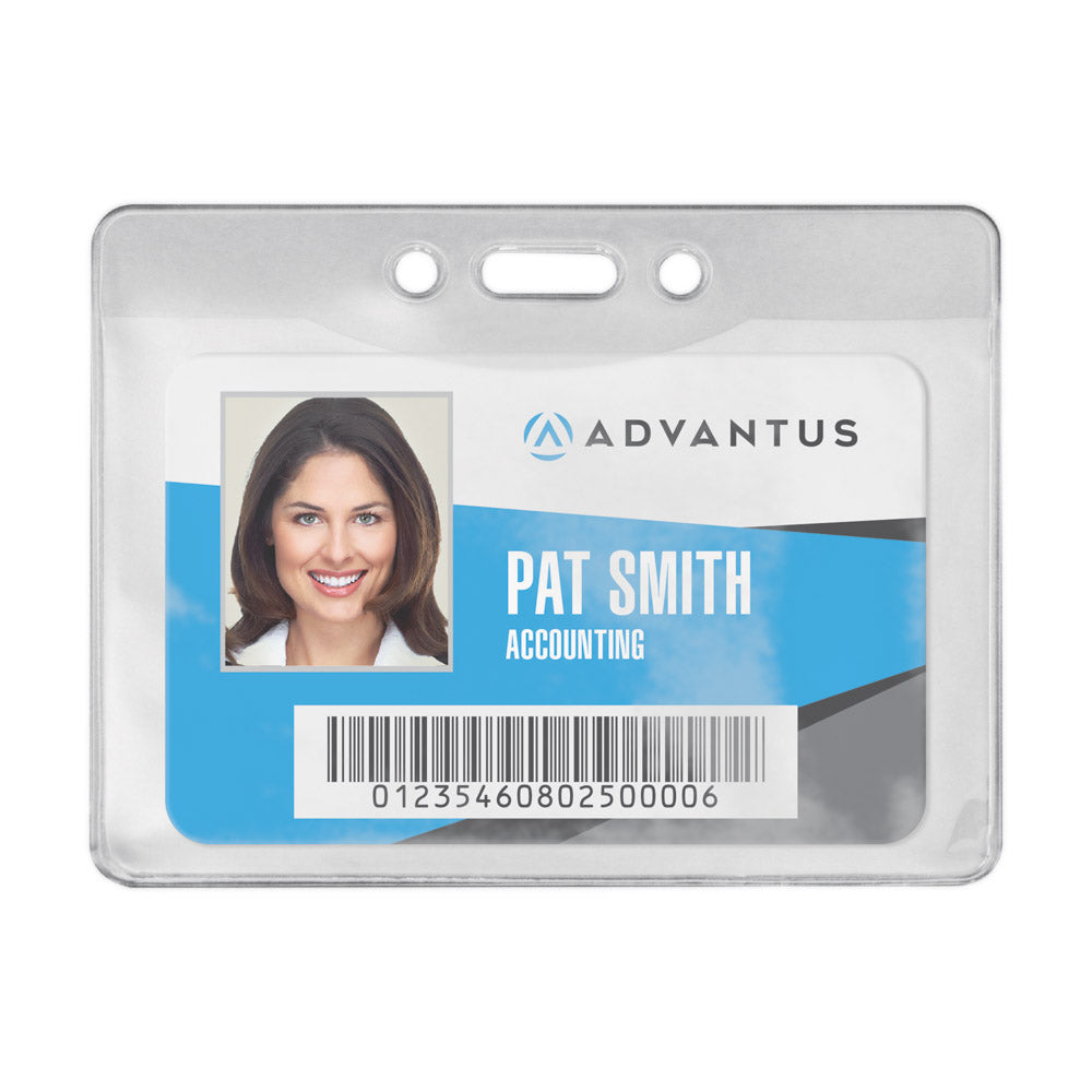Advantus Oversized Vinyl Badge Holder, Horizontal, 4in. x 2¾in, 50/PK