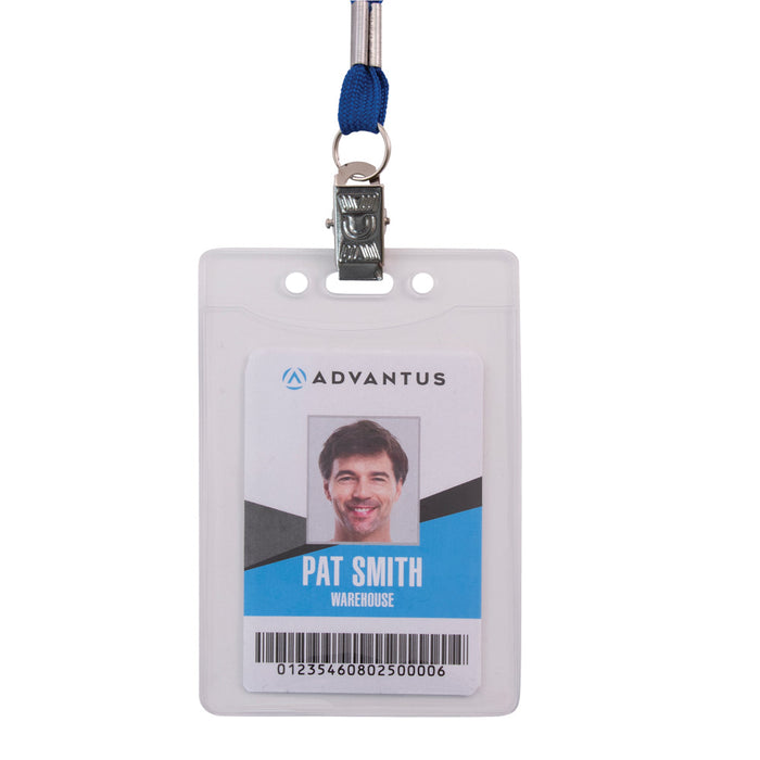 Advantus Oversized Vinyl Badge Holder, Vertical, 2⅞in. x 3⅞in, 50/PK