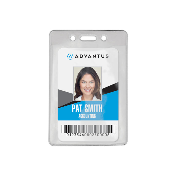 Advantus Vertical Re-sealable Badge Holder 50 // Pack Vertical Clear